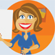 A cartoon girl with a sign  - GraphicRiver Item for Sale