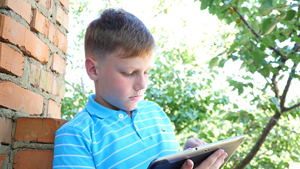 VideoHive Caucasian Boy In The Park With Laptop 12184548