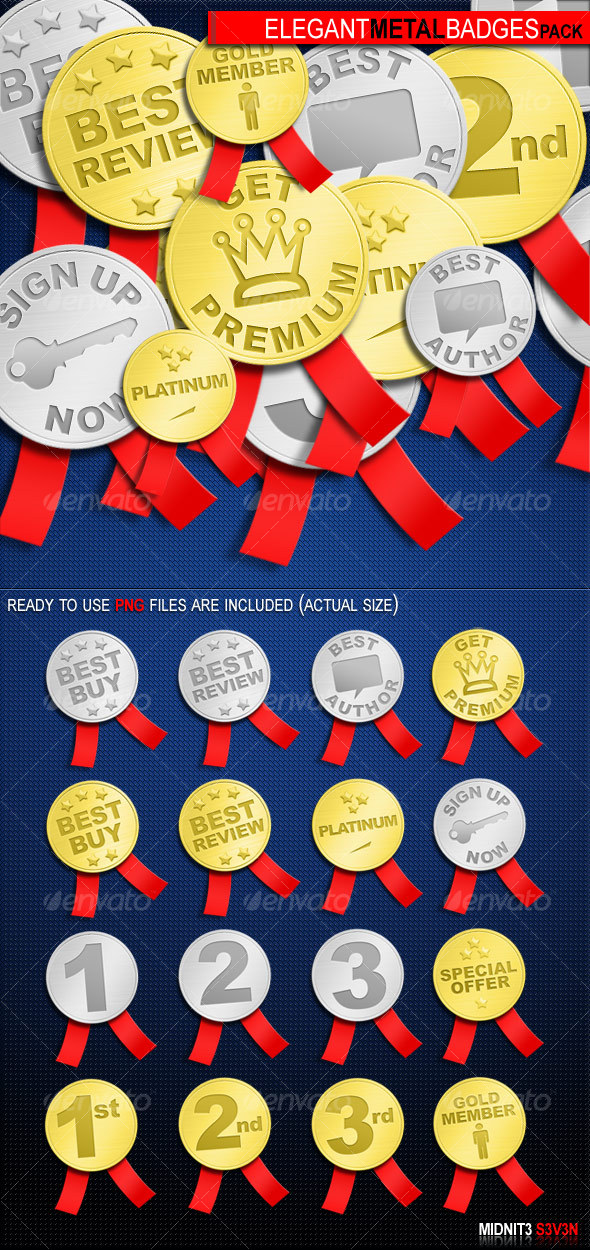 GraphicRiver Elegant Metal Badges Pack #1 49214