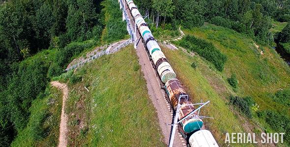 VideoHive Train Aerial Shot 12187004