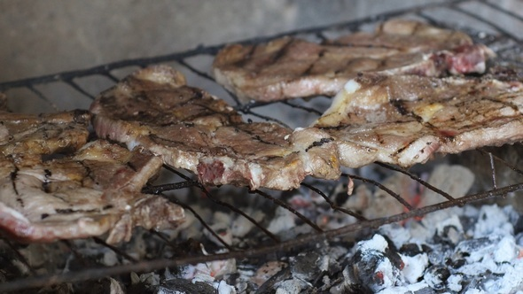VideoHive Steaks Grilled on Barbecue 12187168