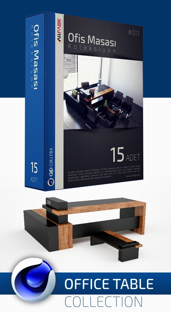 3DOcean Allfabe Office Table Collection 12188268