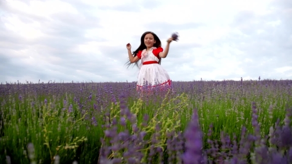 VideoHive Girl In a Field Of Lavender Fun Screams And Slaps 12188314