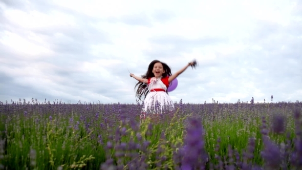 VideoHive Cheerful Girl Jumping In Lavender 12188338