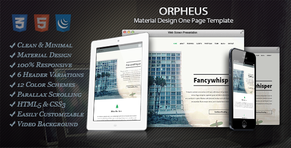 Orpheus - Material Design One Page Template