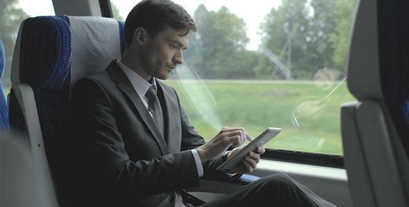 VideoHive Businessman Travel With Train 12188805