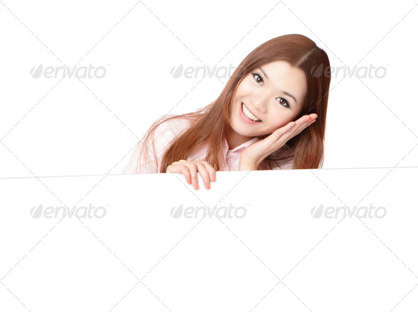 Young Business Woman Happy Smile Showing blank billboard - Stock Photo - Images