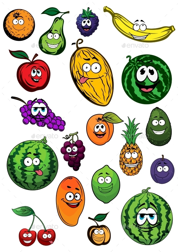 Tropical And Garden Fruits Characters