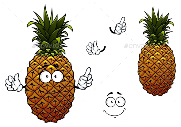 Cartoon Yellow Ripe Pineapple Fruit