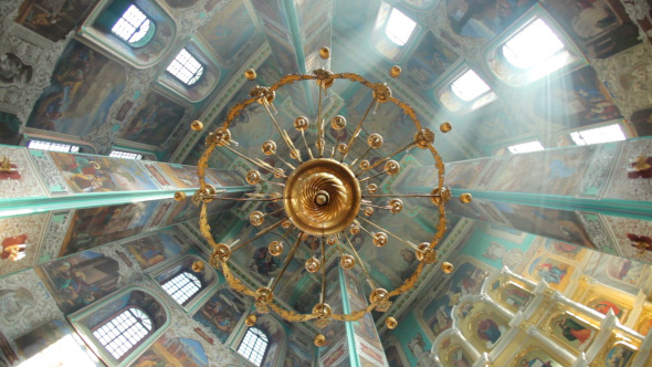 VideoHive Big Old Chandelier In Christian Orthodox Church 12190699