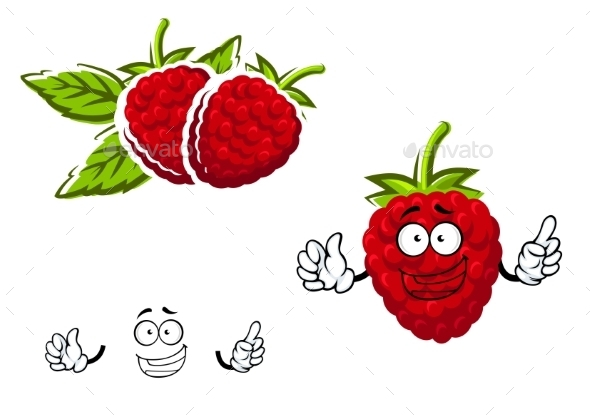 Cartoon Red Raspberry Fruit Character