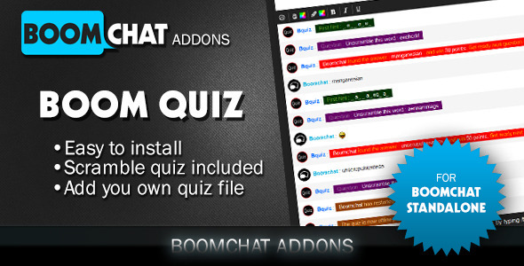 Download Boom Quiz addons for Boomchat php/ajax chat nulled download