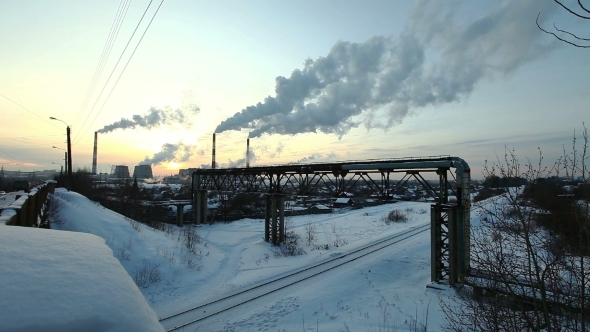 VideoHive Winter Sunset With Smoke Pollution 12193205