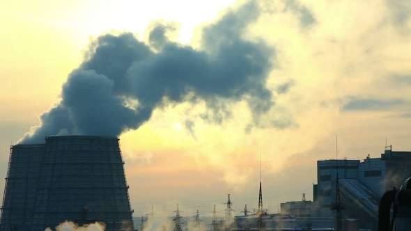 VideoHive Sunset With Smoke Pollution From Termal Station 12193328