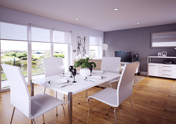 3DOcean Dining Room Lounge interior Vray for Cinema 4D 12205912