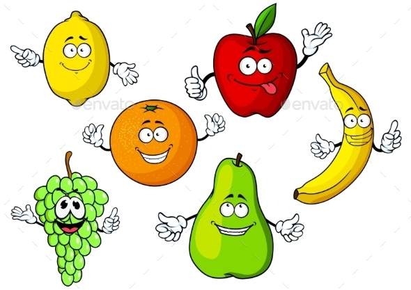 Cartoon Tropical And Garden Fruits Characters