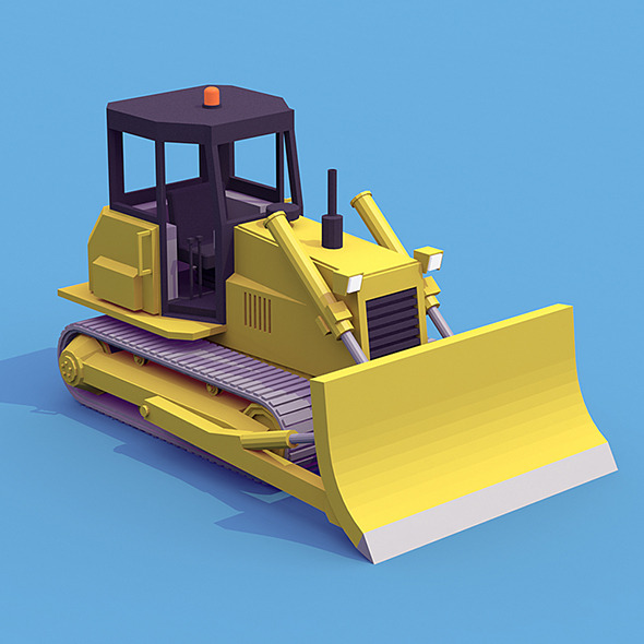 Bulldozer low poly