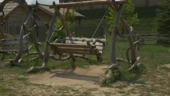 VideoHive Two Wooden Swings Swinging Green Meadow Hill 12208868