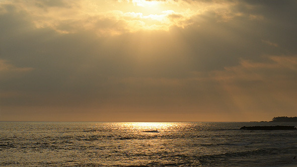 VideoHive Sunset Ocean with Surfers and Sun Rays 12210500