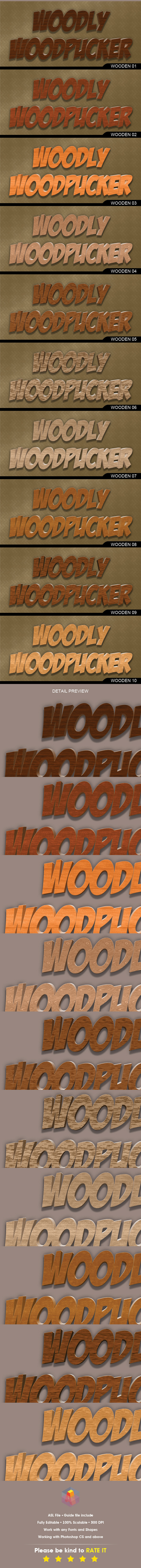 20 Realistic Wood Layer Style vol.1/2