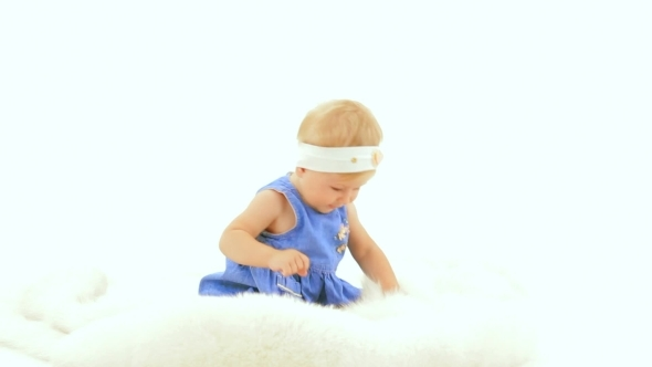 VideoHive Little Girl On White Background 12212367