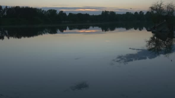 VideoHive Hotspot of Sunset on The Water Wide Shot Pond 12212386