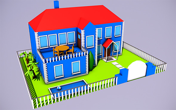 Low Poly House (Ready to Render) - 3DOcean Item for Sale