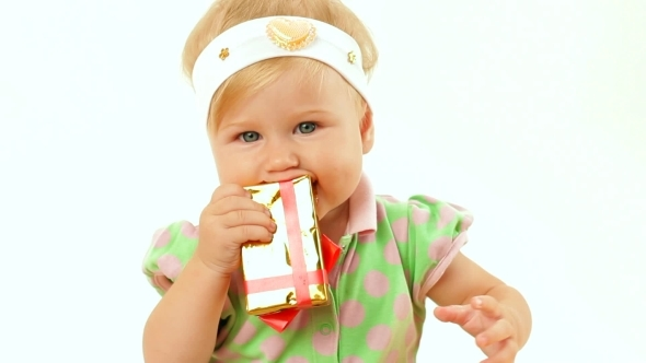 VideoHive Girl With A Holiday Gift 12212758