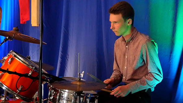 VideoHive Drummer Playing On Percussion In Rock Concert 12216861