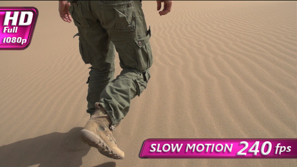 VideoHive Infantryman is Moving on the Sand 12217605