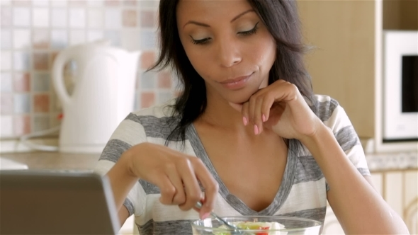 VideoHive Housewife Eating Salad 12219405