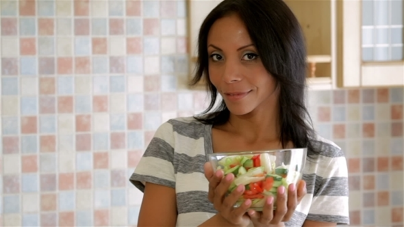 VideoHive Housewife In Kitchen With Salad 12219408