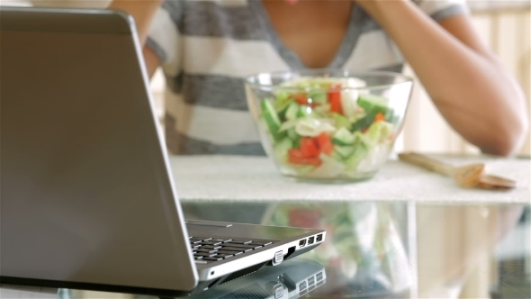 VideoHive Housewife Eating Salad 12219671