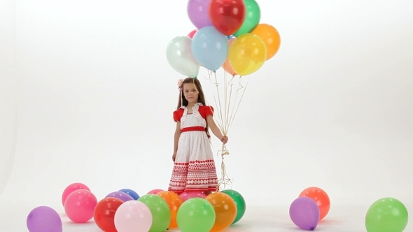 VideoHive Girl With Colorful Balloons 12220784