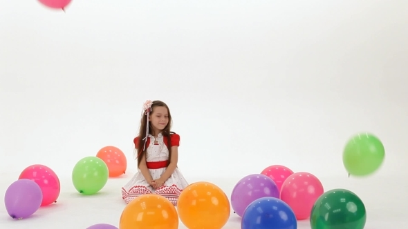 VideoHive Girl Is Happy Balloons 12221250
