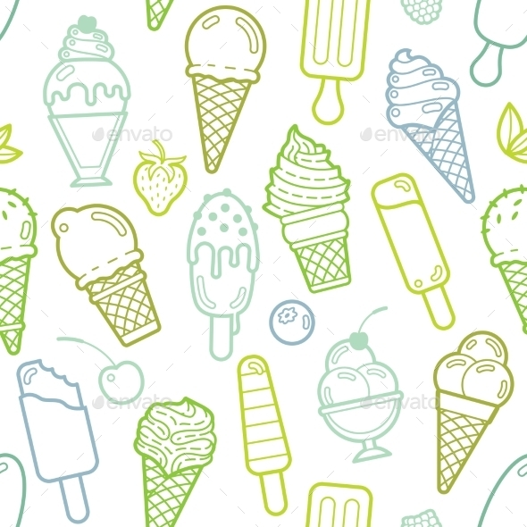 Vector Cute Lime Seamless Pattern With Ice Creams