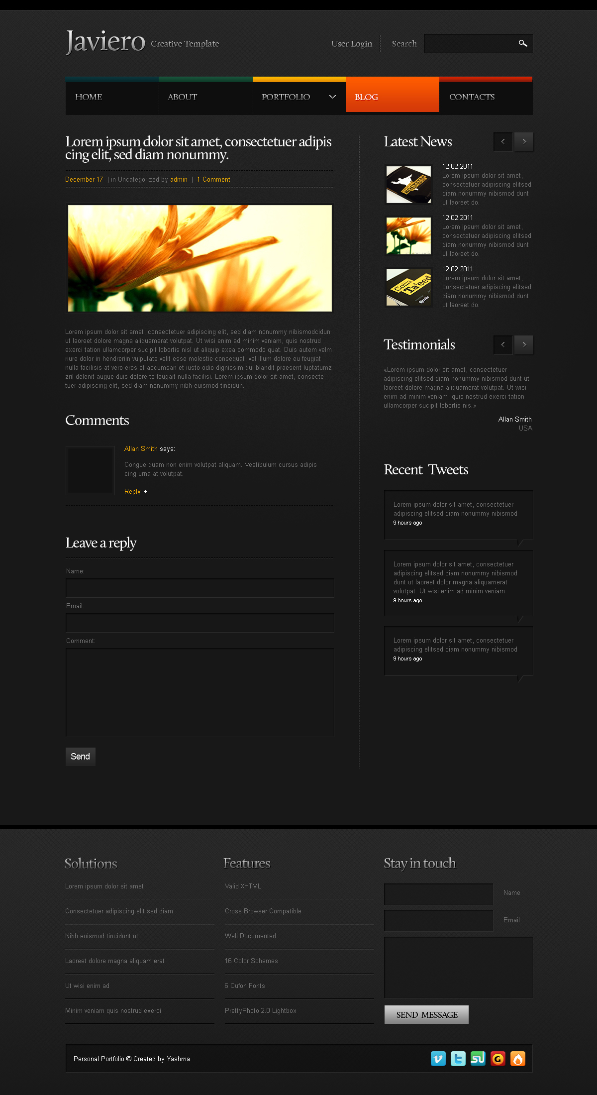 Javiero - Creative PSD Template
