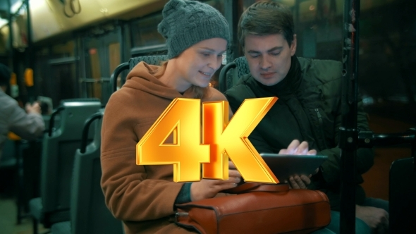 VideoHive Young People Using Tablet Computer In The Bus 12227050