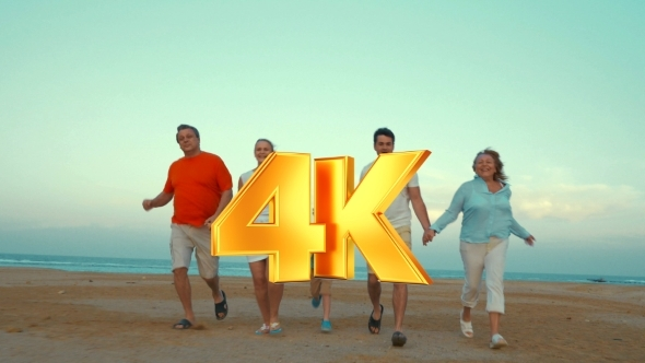 VideoHive Big Happy Family Running On The Beach 12227307