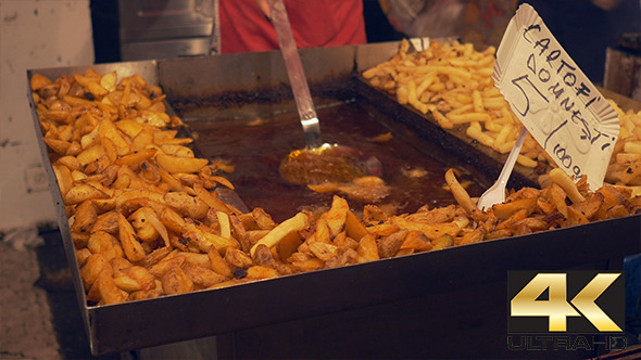 VideoHive Cooking Fries on Large Tray 12228637