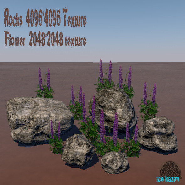 Rocks_flower - 3DOcean Item for Sale