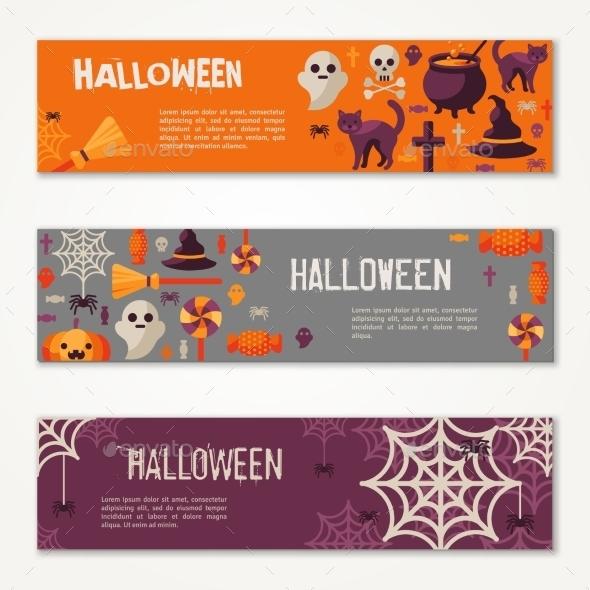 Halloween Horizontal Banners or Flyers