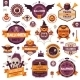 Set of Vintage Happy Halloween Badges and Labels