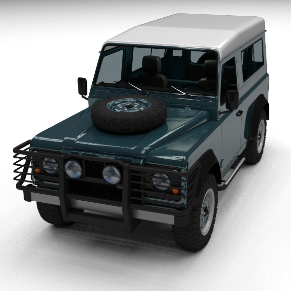 Land Rover Defender 90 Station Wagon w interior - 3DOcean Item for Sale