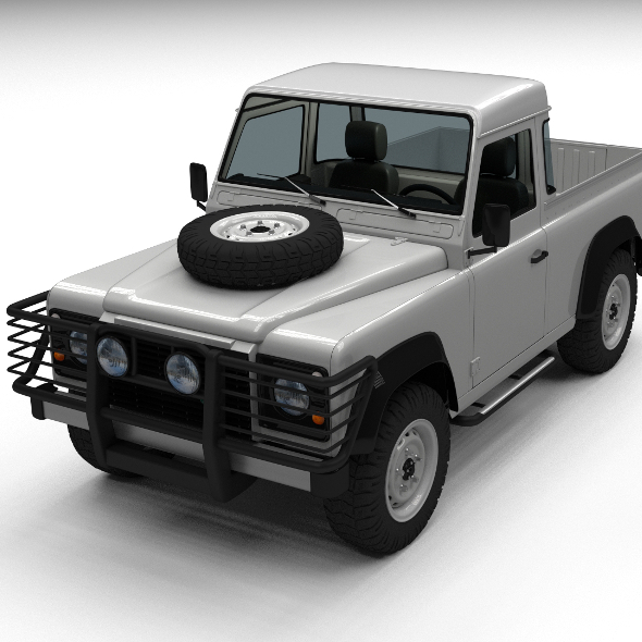 Land Rover Defender 90 Pick Up w interior - 3DOcean Item for Sale