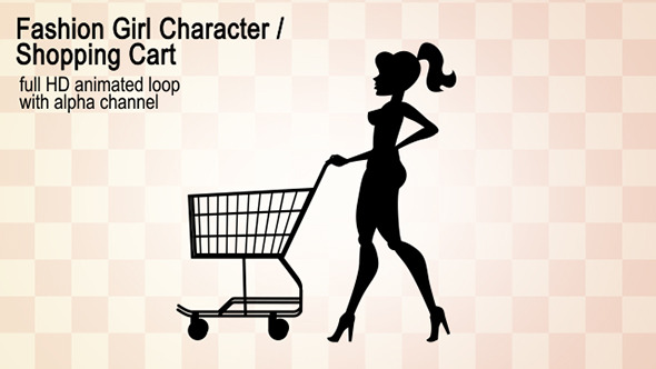 VideoHive Fashion Girl Character Shopping Cart 12239147