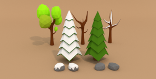 3DOcean Low Poly Tree Pack 12239725