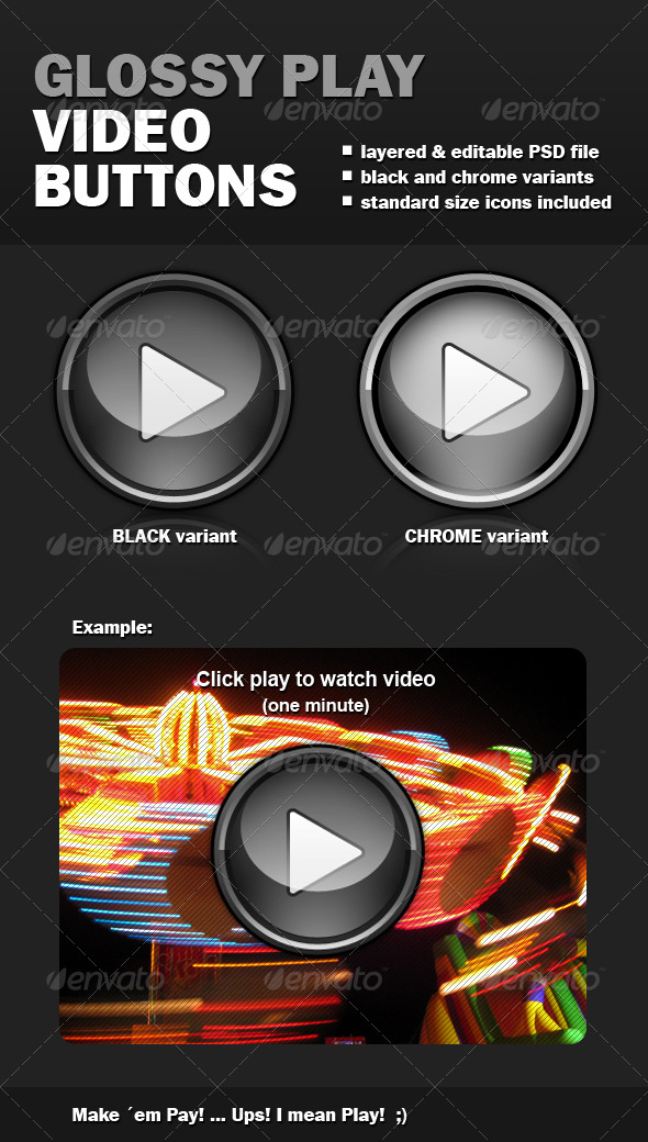 Glossy Play Video Buttons - Buttons Web Elements