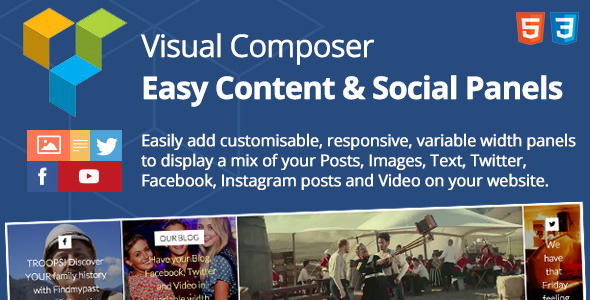 Easy Content & Social Panels for Visual Composer