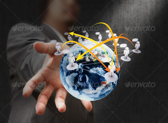 PhotoDune Businessman hand holds globe and social network 1225969
